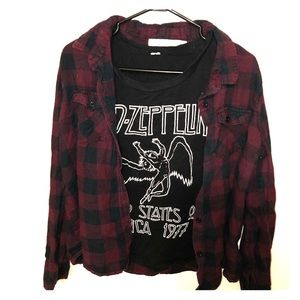 Tops - Led zeppelin muscle tank with grunge plaid shirt
